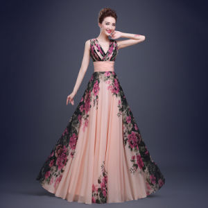 One Shoulder Party Cocktail Dresses Flowers Chiffon Evening Dress Lb1634 pictures & photos