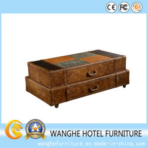 Coffee Table Color Leather Tempered Side Table for Luggage Locker pictures & photos