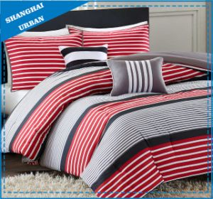 Red Stripe Design Cotton Duvet Cover Beddding pictures & photos