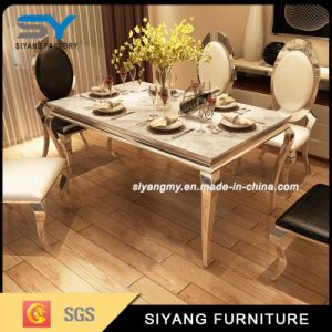 Stainless Steel Furniture Dining Table Set Marble Dining Table pictures & photos