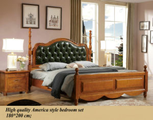 America Style Bedroom Set, Solid Wooden Bed Furniture (1602) pictures & photos