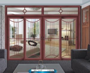 Woodwin Popular Product Double Tempered Glass Wood and Aluminium Sliding Door pictures & photos