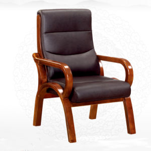 Brown Genuine Leather Wooden Oak Arms Conference Meeting Chair (NS-CF005) pictures & photos