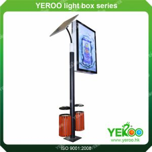 Street Solar Power Advertising Lighting Pole Light Box with Trash Bin pictures & photos