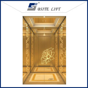 Hotel Passenger Elevator with Golen Etched Stainless Steel Cabin