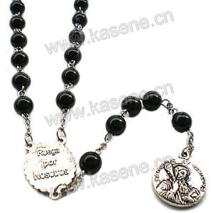 Black Rosary Beads Cross Necklace with Center Pieces