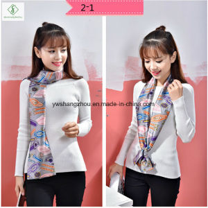 New Design Cravat Silk Stain Fashion Lady Scarf with Printed pictures & photos