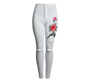European 3D Embroidery Slim Pencil Fashion Ripped Women′s Jeans Trousers pictures & photos