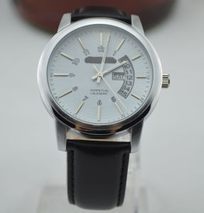 Alloy Anolog Quartz Man Watch with Special Design Date Window, Leather Band (207)