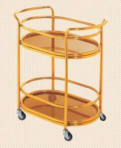 Two Layers Liquor Trolley with Four Wheels pictures & photos