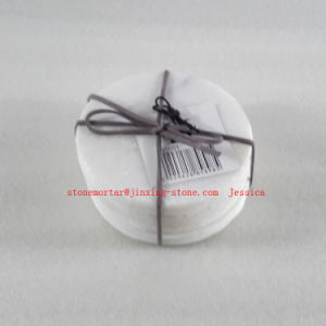 White with Grey Vines Round Marble Coaster Set of 6 /Stone Drink Coaster Set pictures & photos