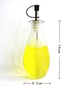 Circle Ribbled Glass Bottle of Glassware Applied in Kitchenware pictures & photos