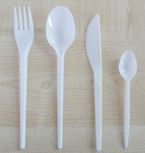 Crystal Spoon Fork Knife Plastic Cutlery Set pictures & photos