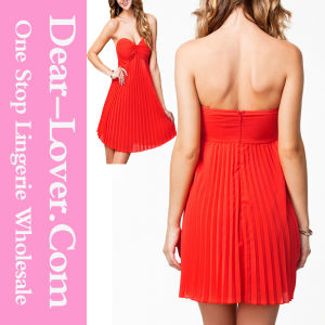 Orange Pleated Bandeau Padded Style Evening Dress pictures & photos