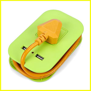 Fashion Green Mini Power Strip with 2 USB Electrical Socket