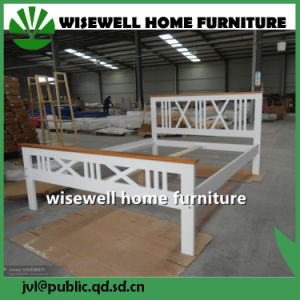 White Color Pine Double Bed Wood Full Bed (W-B-4030) pictures & photos