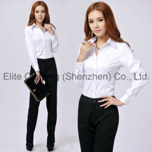 Plain White Womens Formal Shirts (ELTWDJ-184) pictures & photos