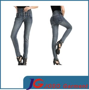 Leather High Waisted Skinny Classy Denim Jeans for Girls (JC1310) pictures & photos