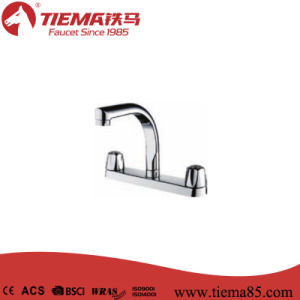 Brass Double Handle Chrome Plating Kitchen Tap (ZS2201-006)
