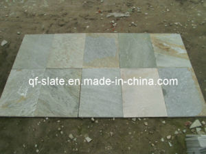 China Natural White Golden Slate Tile for Flooring and Wall