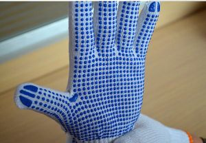 Bleached White Double Palm PVC Dotted Knitted Cotton Work Glove pictures & photos