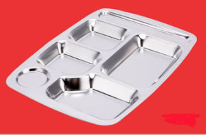 Stainless Steel Fast Lunch Tray with Four Divisions (CS-018) pictures & photos