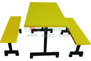 Yellow Fiber Glass Table and Chair Separate 4-Seater Canteen Table and Chair with Metal Frame Dt-05 pictures & photos