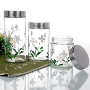 Glass Food Storage Jar Candy Jar with Stainless Steel Lid pictures & photos