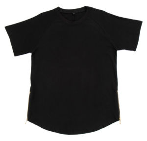 Popular Blank Cotton Street Wear with Zipper Men T Shirt pictures & photos