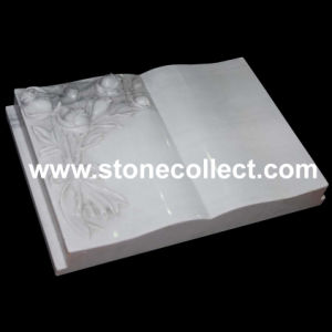 Book Style Headstone with Carved Rose (Pure white maeble) pictures & photos