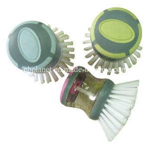 Colorful Plastic Soap Dispensing Dish Brush Pot Scourer pictures & photos