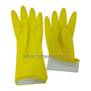 Rubber cleaning Gloves Yellow Household Latex Kitchen Gloves pictures & photos