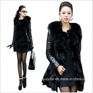 2014 New Winter Slim Fashion Faux Fox Fur Coat