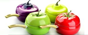 Colored Fruit-Based Aluminum Saucepan