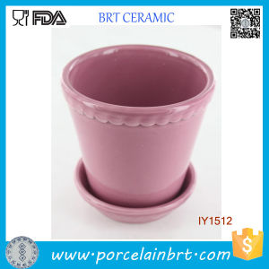 Fancy Lovely Pink with Ripple Ceramic Plant Pot pictures & photos