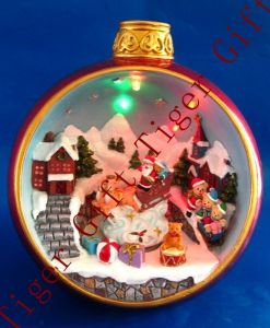 Polyresin Santa Riding Deer in Ball W/LED Light and Music