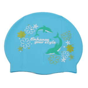 Logo Printed Ears Protecting Flexible Soft Silicone Swimming Cap pictures & photos