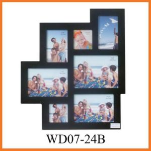 7 Opening Black Wooden Wall Hanging Collage Photo Frame (WD07-24B) pictures & photos