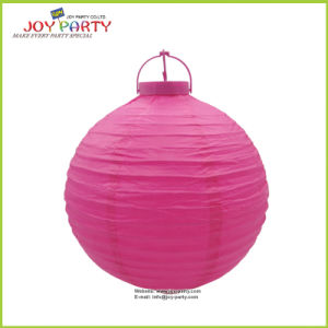 8 Inch Battery Plastic Base Paper Lantern with LED Light