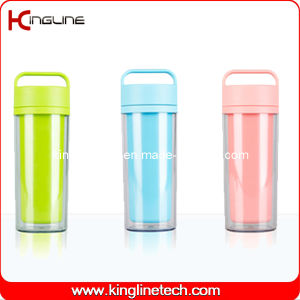 350ml Plastic Double Layer Cup with Handle (KL-5021) pictures & photos