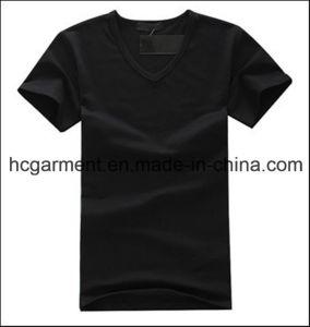 Cotton V-Neck Solid Black Color Cotton T-Shirt for Man pictures & photos