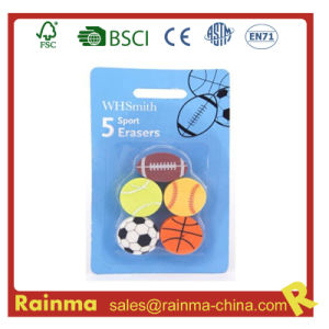 Sports Ball Shape 5 in 1 Set Rubber Erasers pictures & photos
