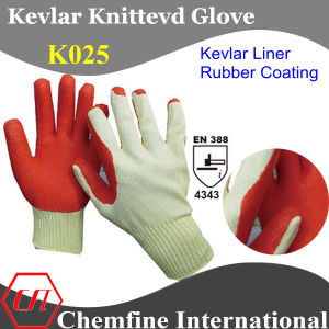 Kevlar Glove Knitted Glove with Rubber Coated Palm/ En388: 4343 pictures & photos