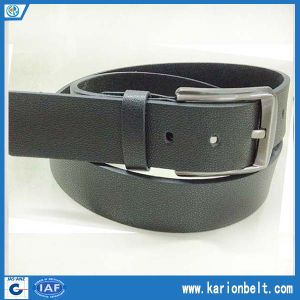 Men′s Split Leather Belt with Simple Design Strap and Silver Buckle (40-13286)