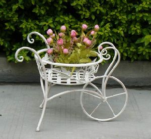 China 2014 Vintage Antique White Bicycle Wrought Iron Garden Items