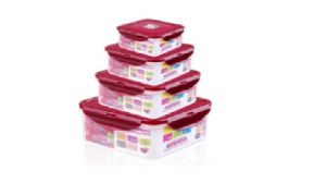 4PCS Plastic Storage Box with Red Lid pictures & photos