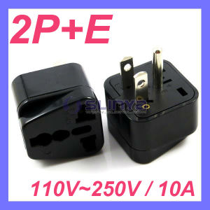Universal to USA Plug Adapter Travel Adapter 3pin Plug, USA Industry Grounding Pin, Generator Power Jack Plug pictures & photos