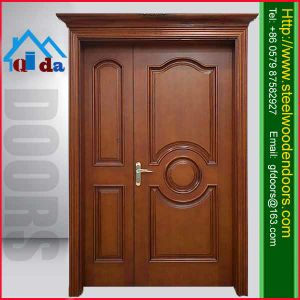 China latest design wooden wood double entry door china for Puertas principales de madera
