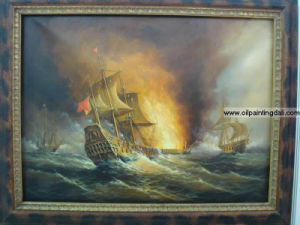 Warship Oil Paintings On Canvas (T100)