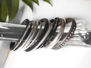 Fashion Mesh Bangle and Glass Beads & Fashion Thin Metal Bangle